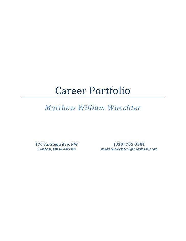Portfolio Cover Page Template Career Portfolio