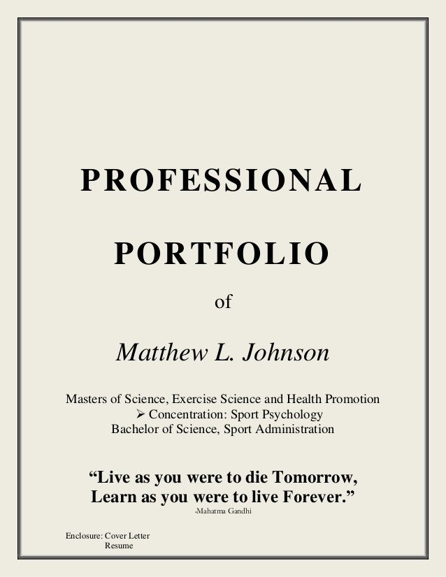 Portfolio Cover Page Template Coaching Portfolio