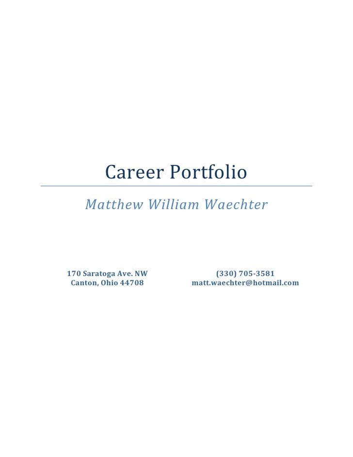Portfolio Cover Pages Templates Career Portfolio