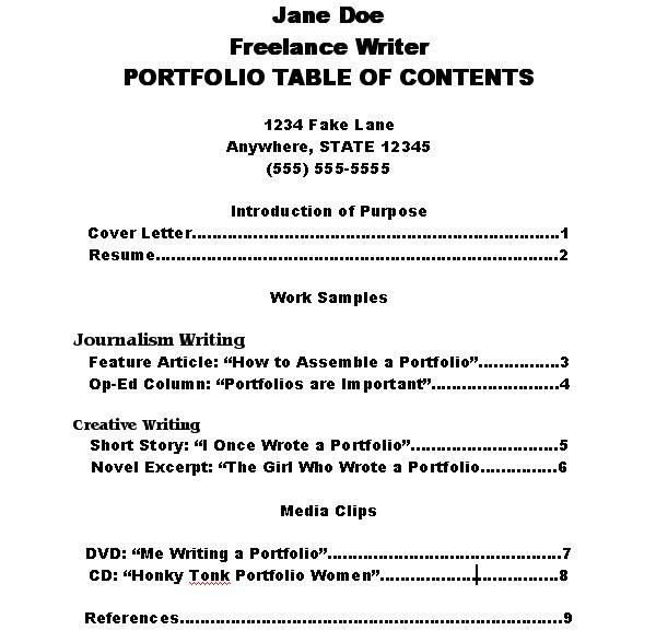 Portfolio Table Of Contents Template How to Make A Portfolio Table Of Contents