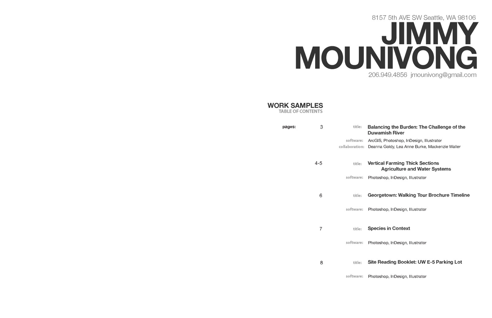 Portfolio Table Of Contents Template Jimmy Mounivong January 2011