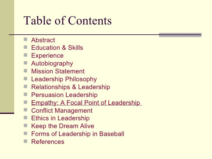 Portfolio Table Of Contents Template Leadership Portfolio