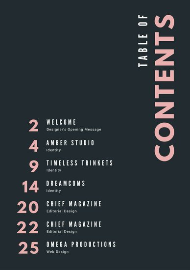 Portfolio Table Of Contents Template Pastel Pink Typography Portfolio General Table Of Contents