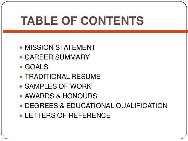 Portfolio Table Of Contents Template Simple Career Portfolio