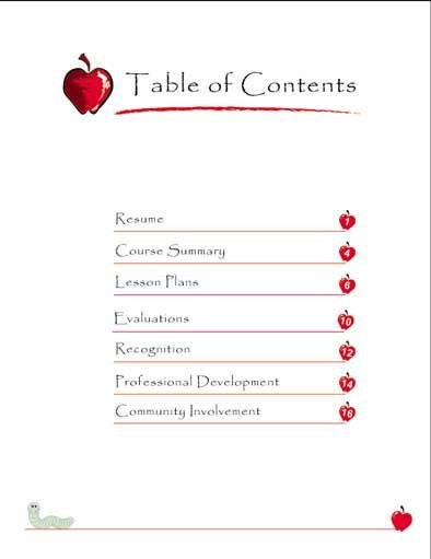 Portfolio Table Of Contents Template Teaching Portfolio Table Of Contents