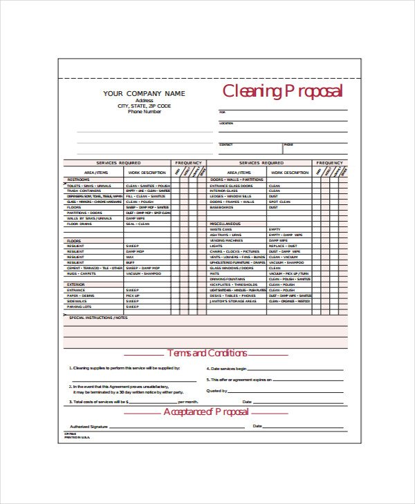 Post Construction Cleaning Proposal Template Mercial Hvac Proposal Template Templates Resume