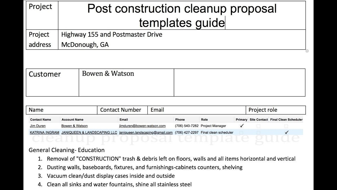 Post Construction Cleaning Proposal Template Post Construction Cleanup Proposal Templates