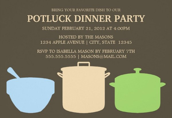 Potluck Email to Coworkers 46 event Invitations Designs & Templates Psd Ai