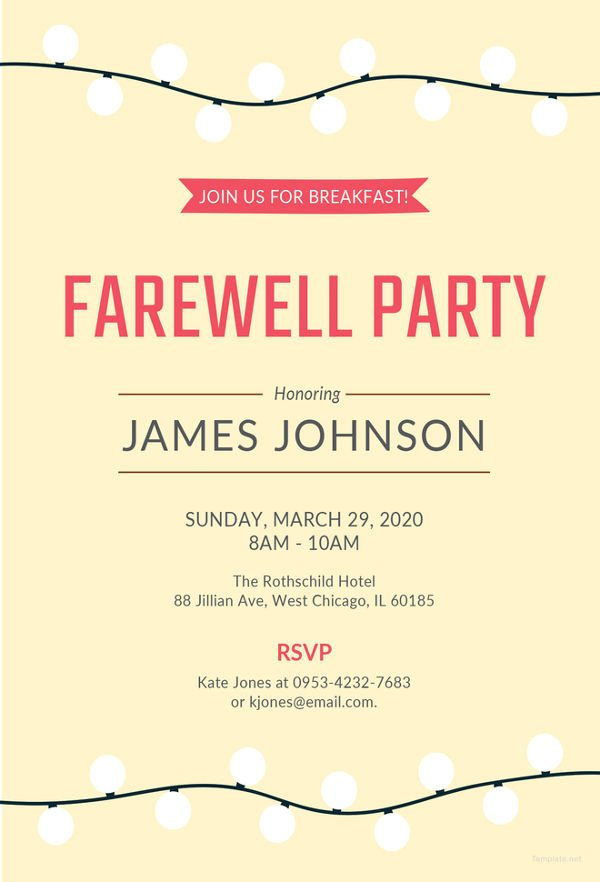 Potluck Email to Coworkers Farewell Party Invitation Template 29 Free Psd format