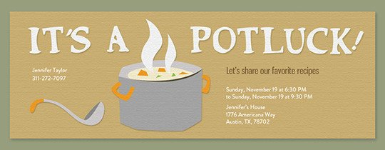 Potluck Email to Coworkers Free Potluck Invitations