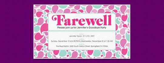 Potluck Email to Coworkers Retirement Farewell Free Online Invitations
