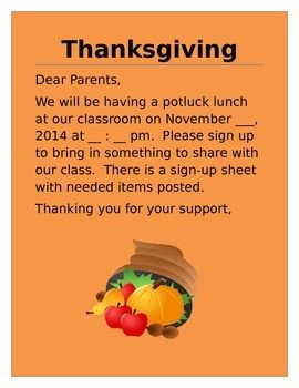 Potluck Email to Coworkers Thanksgiving Potluck Lunch Invitation Letter to Parents by