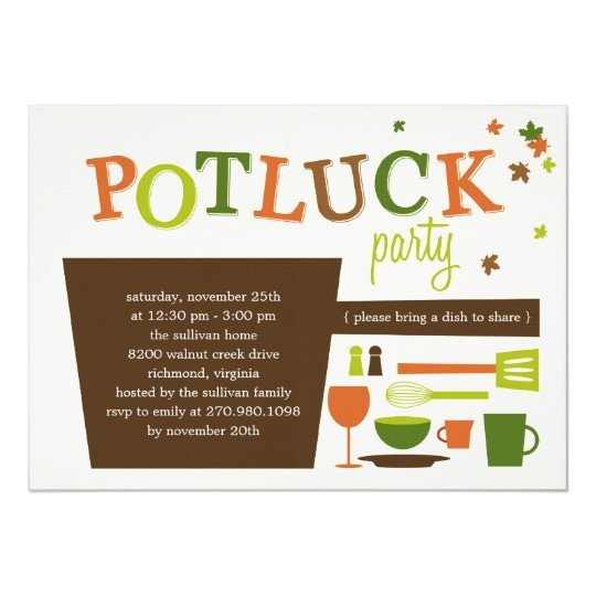 Potluck Email to Coworkers Thanksgiving Potluck Party Invitation
