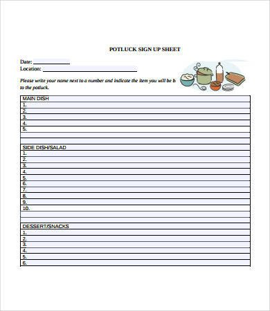 Potluck Sign Up Template Potluck Signup Sheet 12 Free Pdf Word Documents