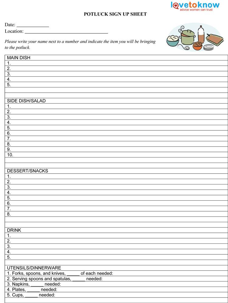 Potluck Signup Sheet Template Potluck Sign Up Sheet Template Pdf 750×997