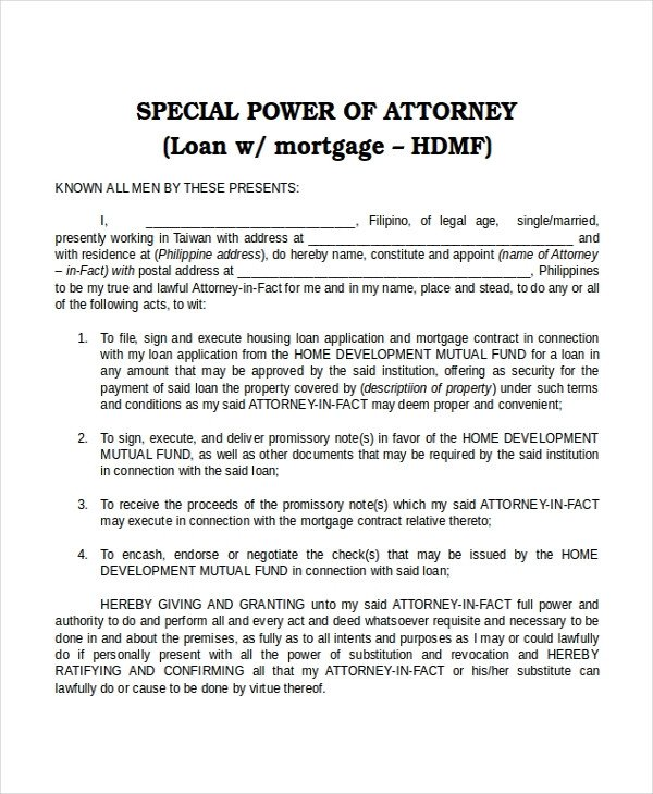 Power Of attorney Example 16 Power Of attorney Templates Free Sample Example