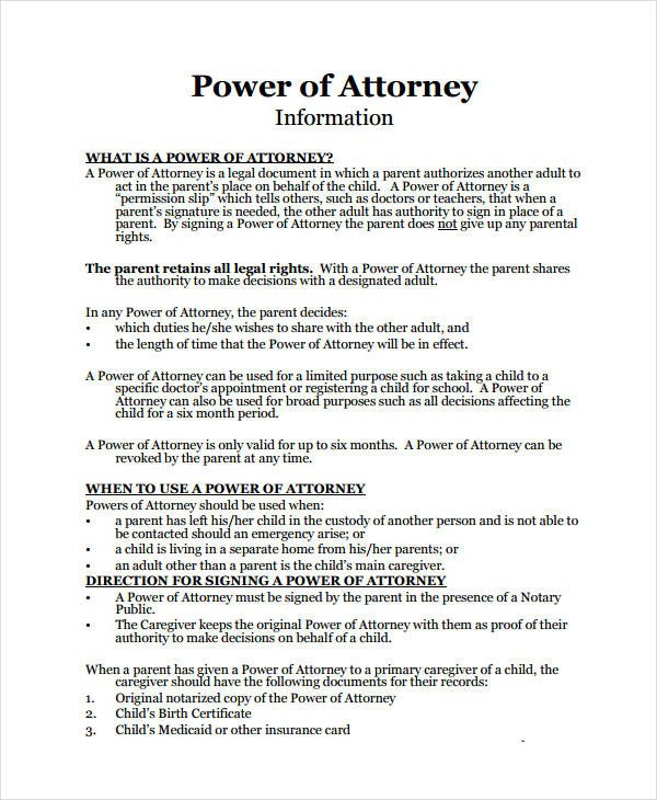 Power Of attorney Example 9 Medical Power attorney forms Free Sample Example