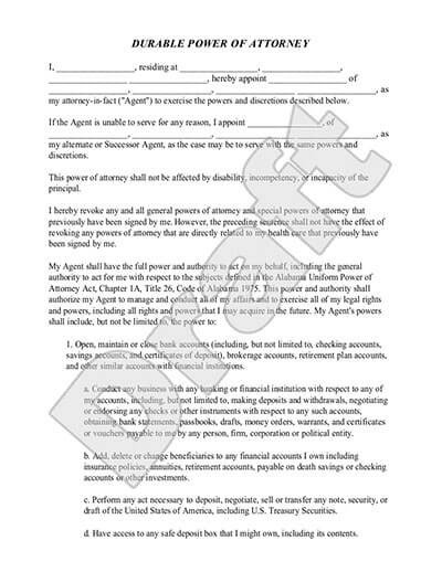 Power Of attorney Example Durable Power Of attorney Simple Poa form
