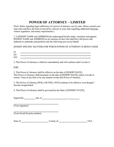Power Of attorney Example Limited Power Of attorney form Download Create Fill