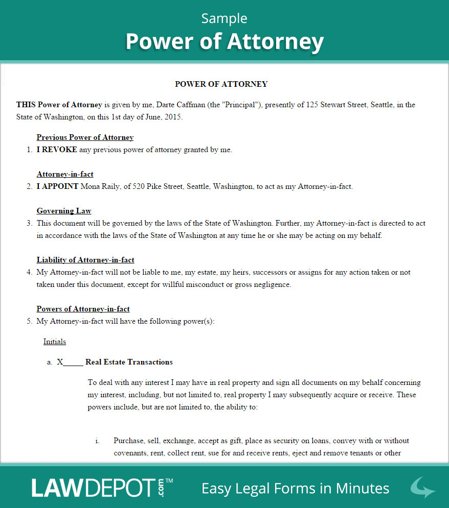 Power Of attorney Example Power Of attorney form Free Poa forms Us