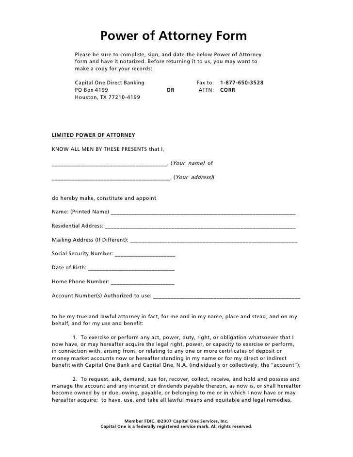 Power Of attorney Example Power Of attorney form