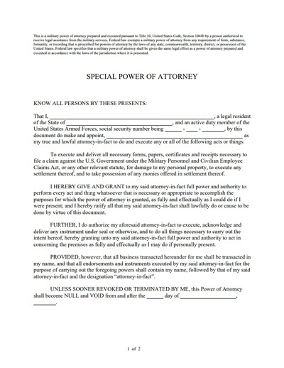 Power Of attorney Example Special Power Of attorney form Free Download Create