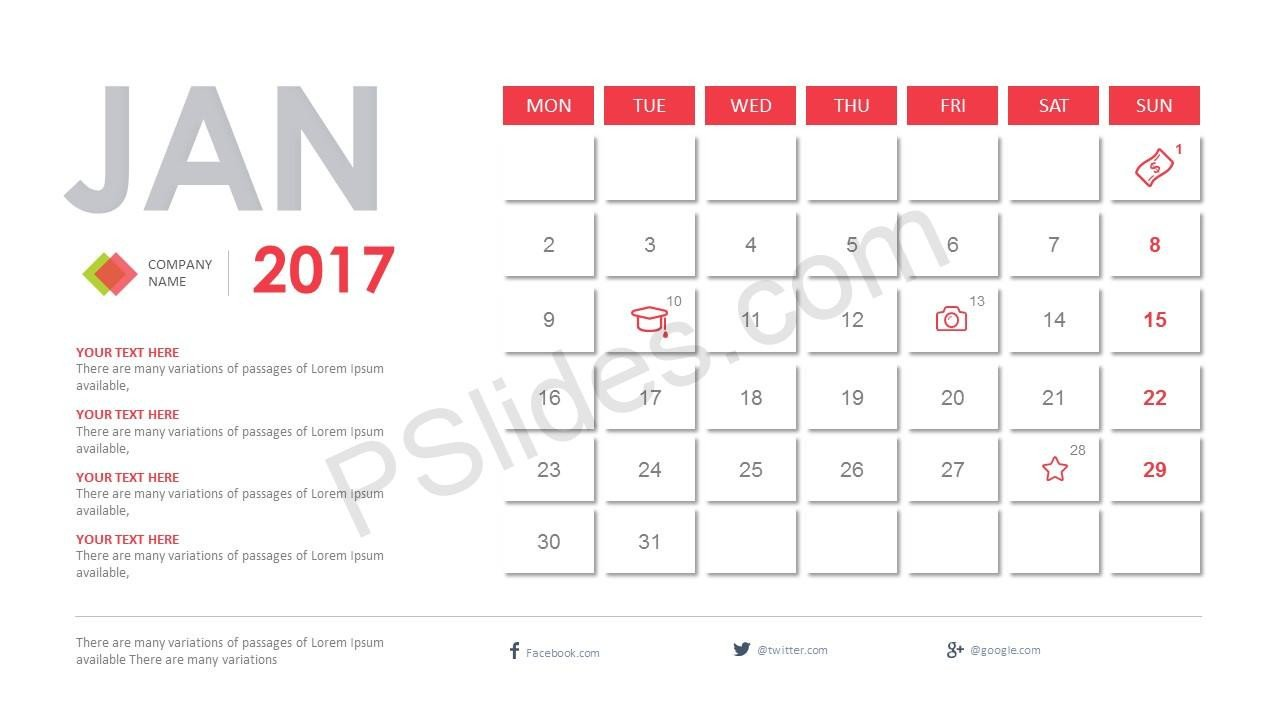 Power Point Calendar Templates 2017 Calendar Powerpoint Template