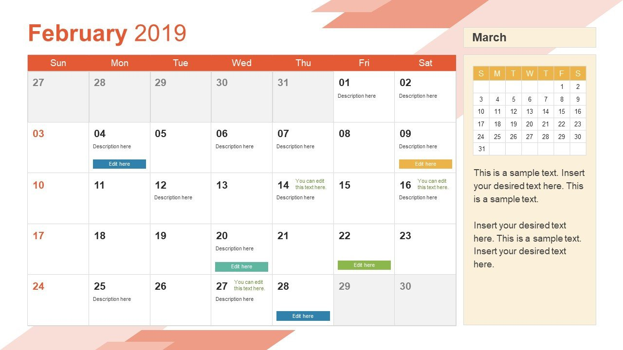 Power Point Calendar Templates February Powerpoint Calendar 2019 Slidemodel