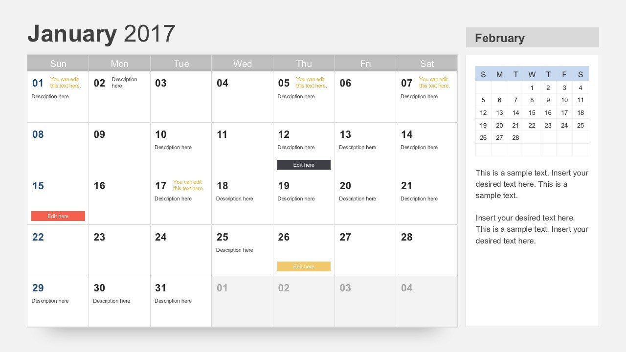 Power Point Calendar Templates Free Calendar 2017 Template for Powerpoint