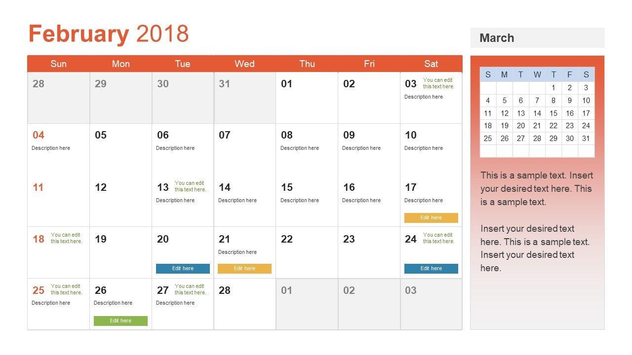 Power Point Calendar Templates Monthly Calendar for 2018 Ppt Slidemodel