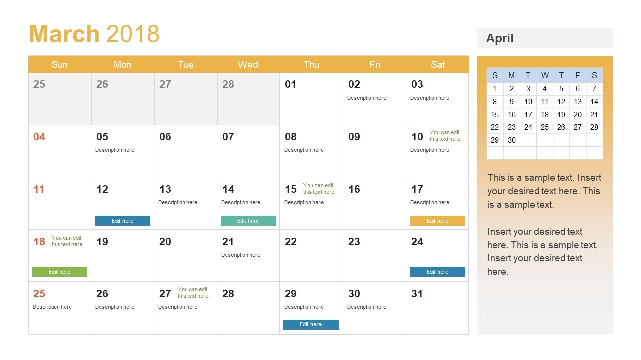 Power Point Calendar Templates Powerpoint Calendar Template Year 2018 Slidemodel