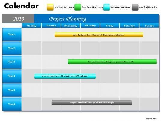 Power Point Calendar Templates Project Planning Gantt Chart 2013 Calendar Powerpoint