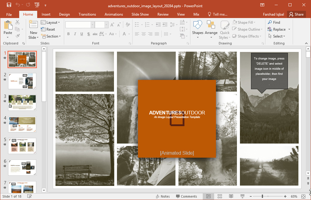 Powerpoint Photo Collage Template Adventures Outdoor Image Template for Powerpoint