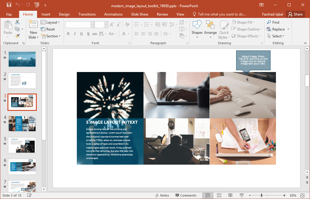 Powerpoint Photo Collage Template Animated Modern Image Layout Powerpoint Template