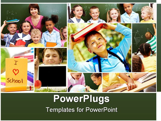 Powerpoint Photo Collage Template Collage Of Schoolchildren and Studying Process Moments