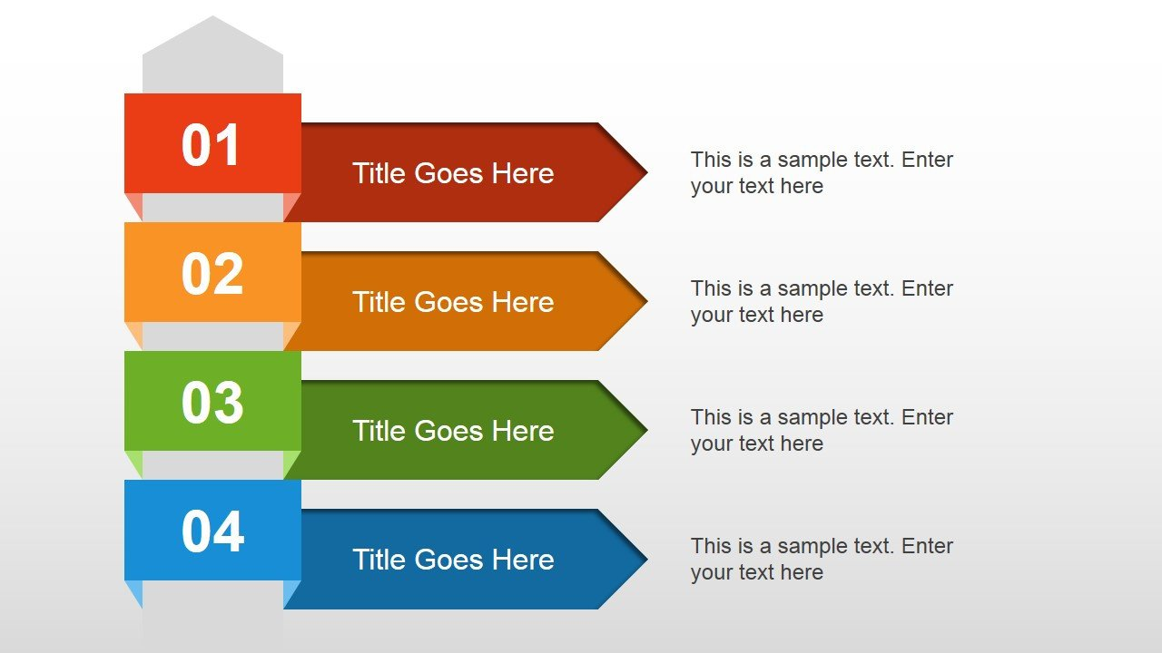 Powerpoint Presentation Outline Example 4 Steps Text Layout for Powerpoint Slidemodel