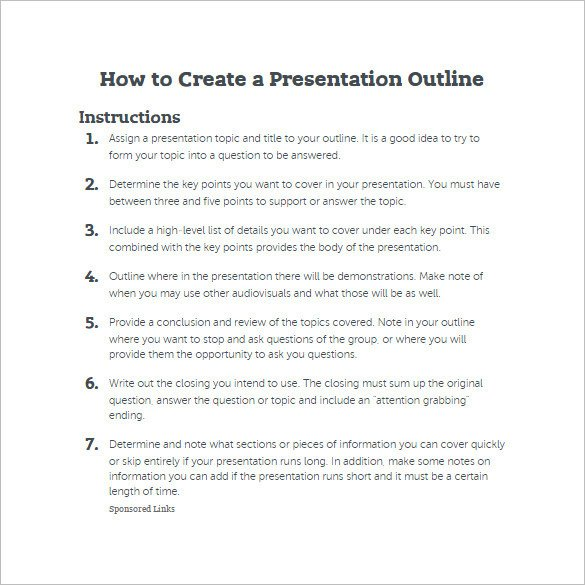 Powerpoint Presentation Outline Example 7 Presentation Outline Templates – Free Ppt Word & Pdf