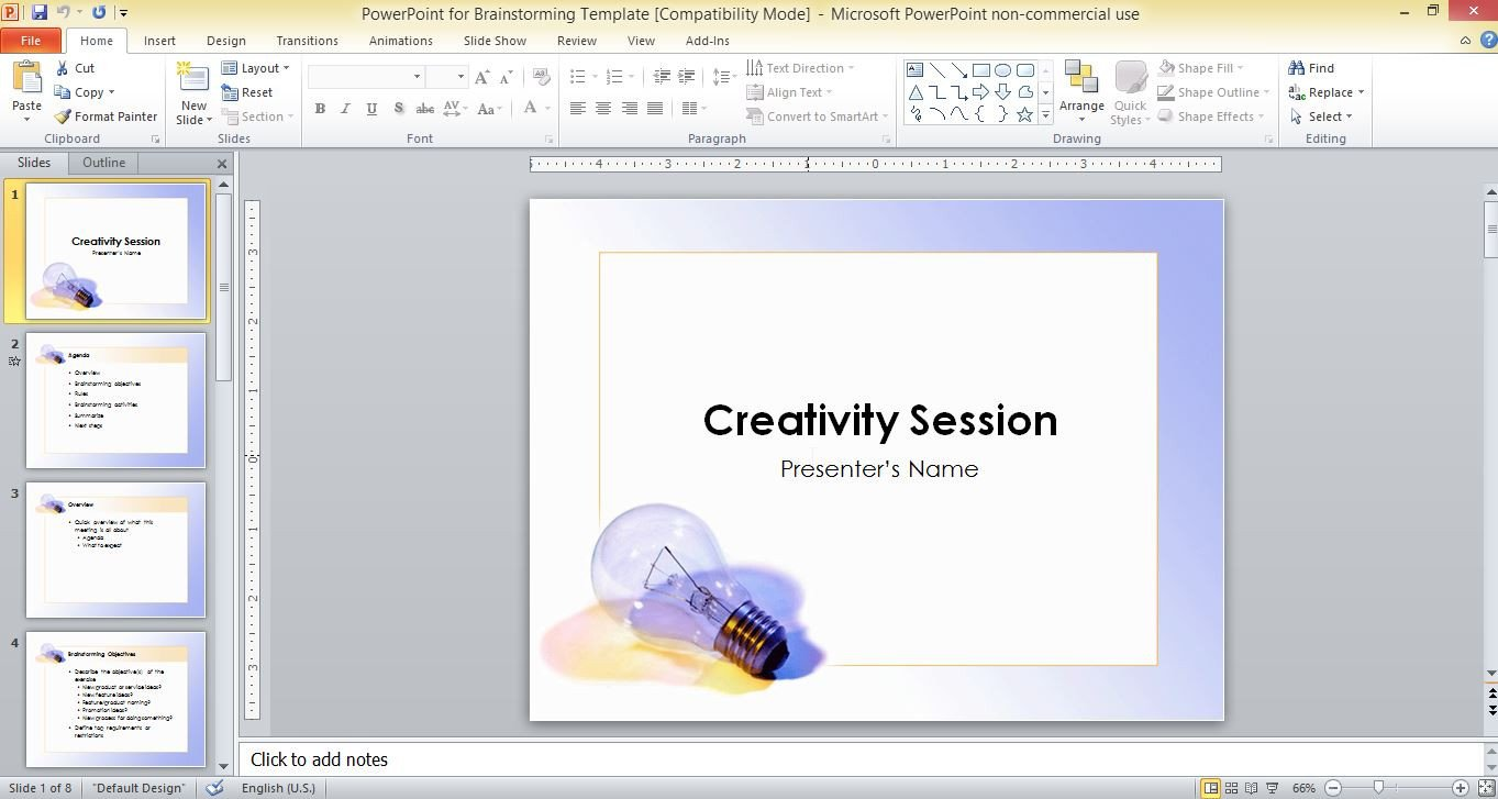 Powerpoint Presentation Outline Example Powerpoint for Brainstorming Template