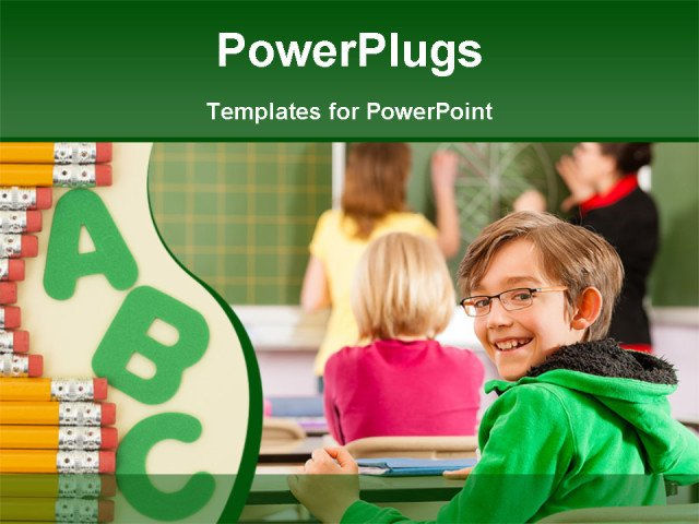 Powerpoint Templates for Teachers Education Young Female Teacher with Pupil In His form Of