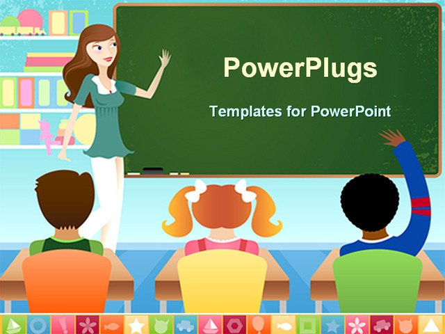 Powerpoint Templates for Teachers Powerpoint Template Teacher and Three Pupils In Classroom