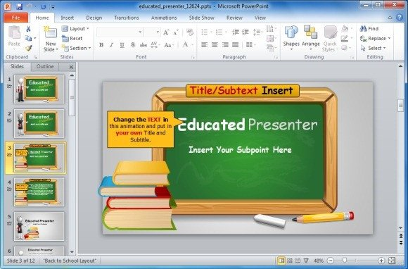 Powerpoint Templates Free Education Animated Blackboard Template for Educational Powerpoint