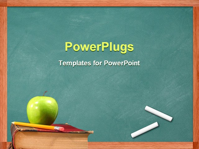 Powerpoint Templates Free Education Powerpoint Template Apple and Pencil On Book In Front Of