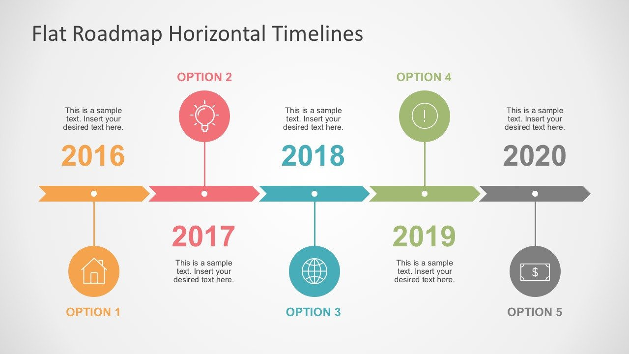 Powerpoint Timeline Template Free Flat Roadmap Horizontal Timelines for Powerpoint