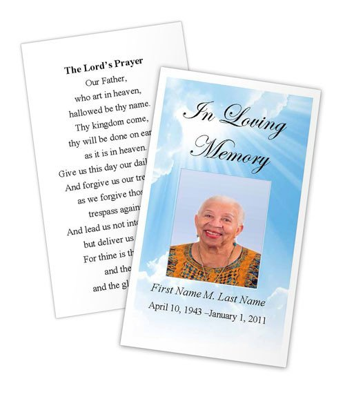 Prayer Card Template Free Blue Sky Prayer Card Template