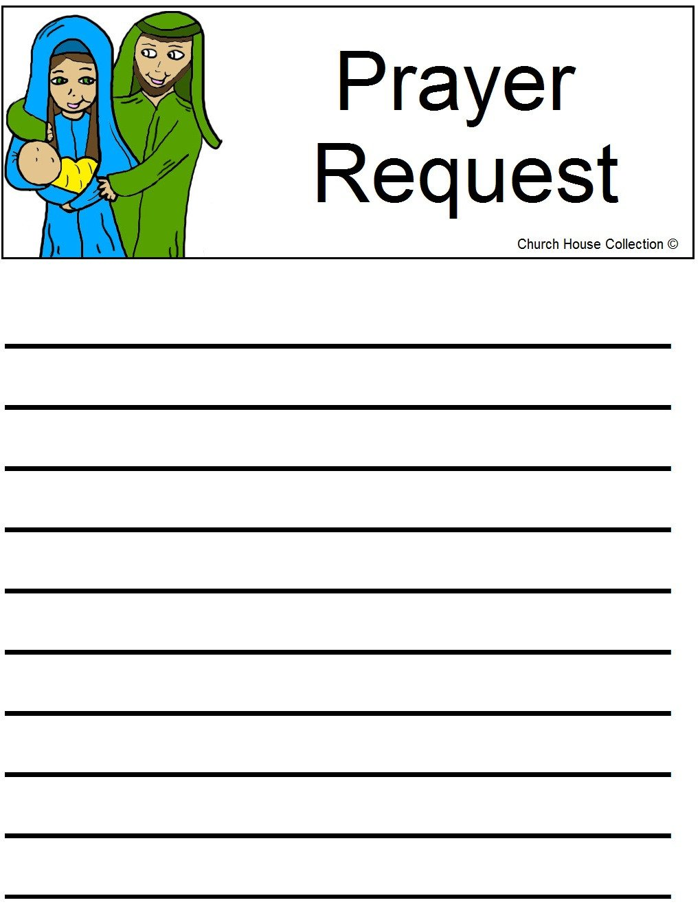 Prayer Request Card Template Church House Collection Blog Nativity Sunday School Lesson