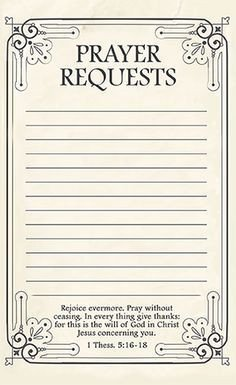 Prayer Request Card Template Free Printable Prayer Request