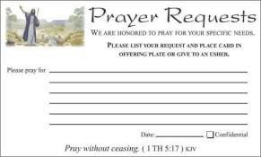 Prayer Request Card Template Munion Supplies Bread Cups Munion Sets and More