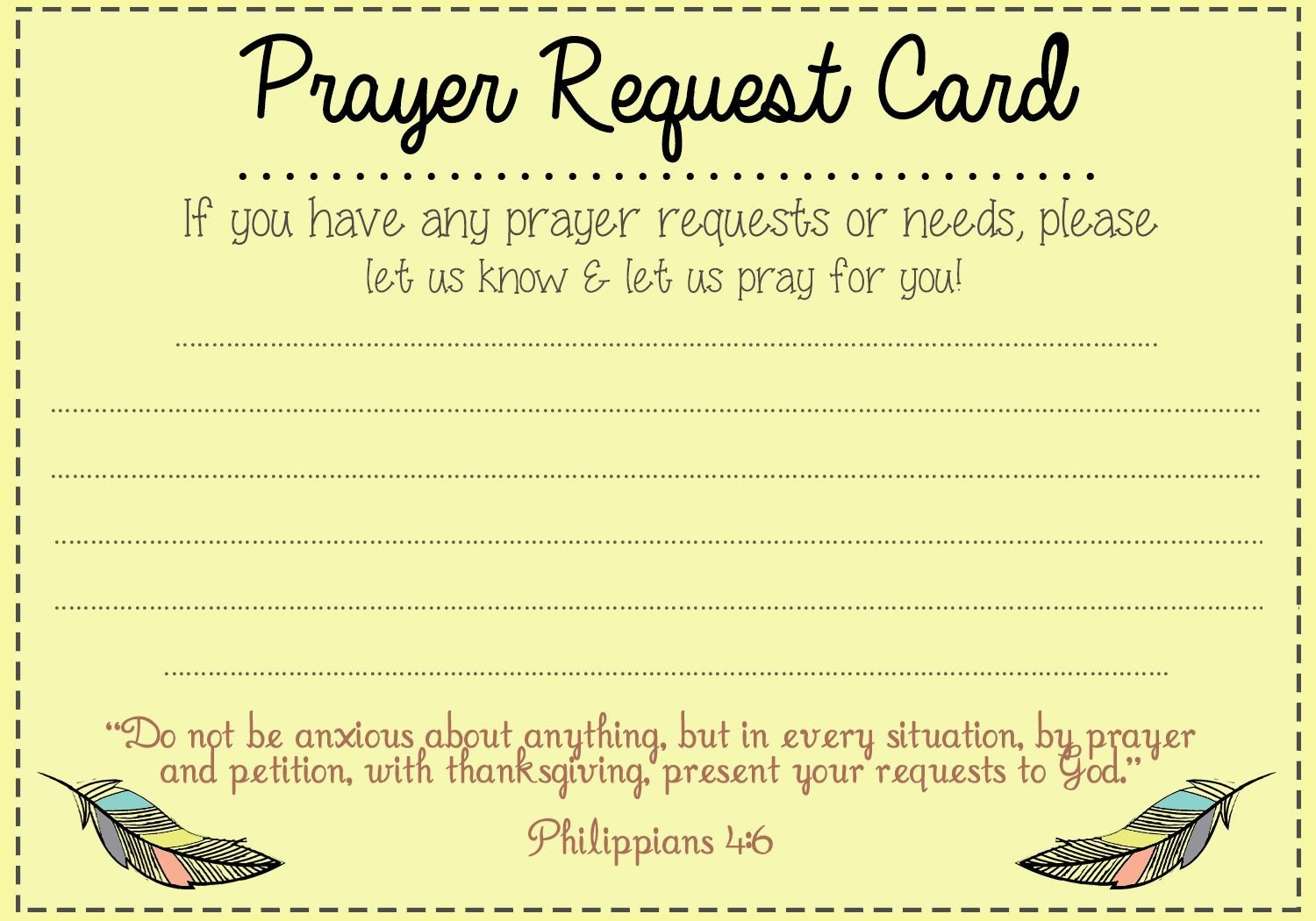 Prayer Request Card Template Prayer Request Card Idea Mops Pinterest