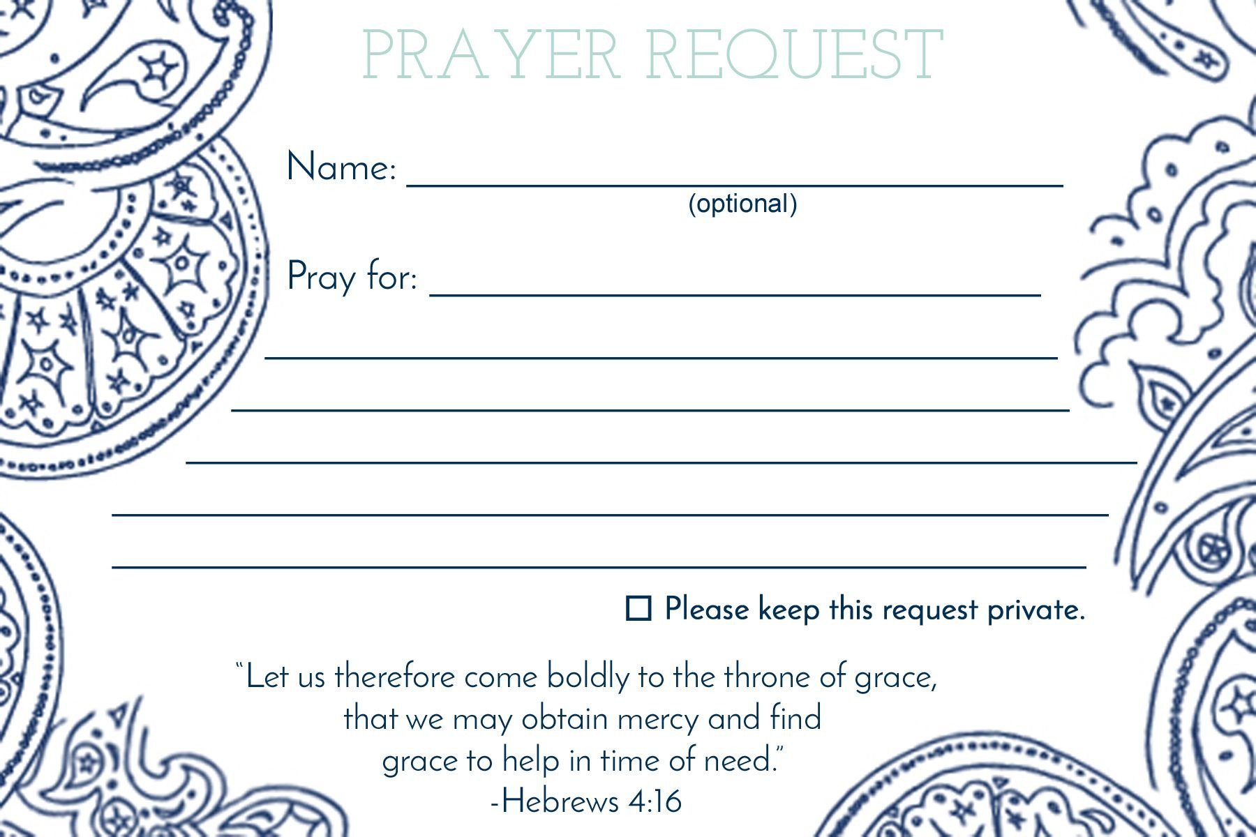 Prayer Request Card Template Prayer Request Card – Mops Leaders Mops