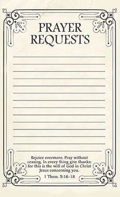 Prayer Request Card Template Printable Prayer Request form Template Google Search